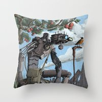 Johnny Apple-Droid Throw Pillow