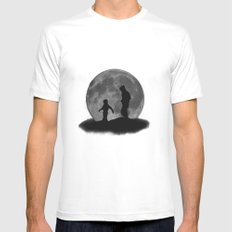 Moon Walk Mens Fitted Tee SMALL White