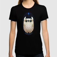 Starla The Owl Womens Fitted Tee Black SMALL