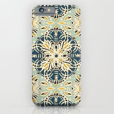 Protea Pattern in Deep Teal, Cream, Sage Green & Yellow Ochre  Slim Case iPhone 6s