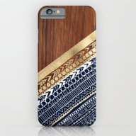 Navy & Gold Tribal On Wo… iPhone 6 Slim Case