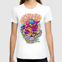 PARTY GOD (magenta) Womens Fitted Tee White SMALL