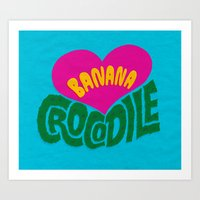 Banana Love And The Croc… Art Print