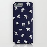 baby iPhone & iPod Cases featuring Indian Baby Elephants in Navy by Estelle F