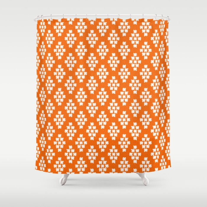 Stitched In Orange Shower Curtain By Sia Ritar