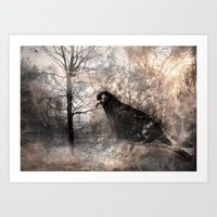 Black bird and the foggy path Art Print