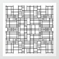 Map Outline Black On Whi… Art Print