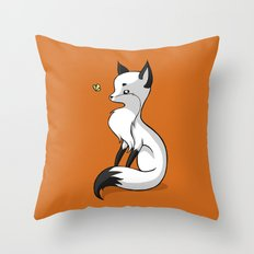 Fox and a Butterfly Throw Pillow