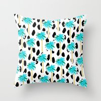 Palm Trees and Dots Throw Pillow
