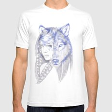 She Wolf Mens Fitted Tee SMALL White