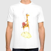 Baby In A Giraffe Mens Fitted Tee White SMALL