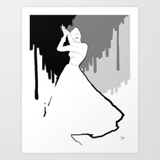 'Back to Black' Fashion Illustration Art Print