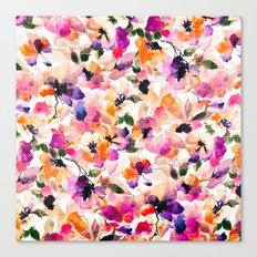 Chic Floral Pattern Pink Orange Pastel Watercolor Canvas Print