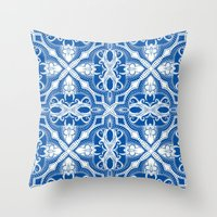 Dotted Tile: Vibrant Blue  Throw Pillow