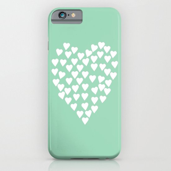 Hearts Heart White on Mint iPhone & iPod Case