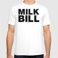 MILK BILL Mens Fitted Tee White SMALL