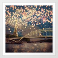Love Wish Lanterns Over … Art Print