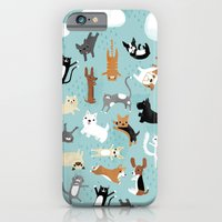 iPhone Cases featuring Raining Cats & Dogs by Anne Was Here