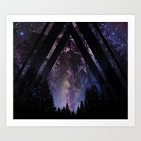 Triangle Forest At Night Art Print