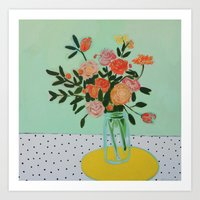 Floral And Dots Art Print