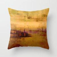golden abstract landscape Throw Pillow