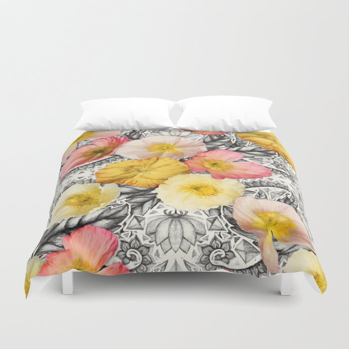 Collage Of Poppies And Pattern Duvet Cover By Micklyn