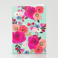 Sweet Pea Floral Aqua Multi color Stationery Cards
