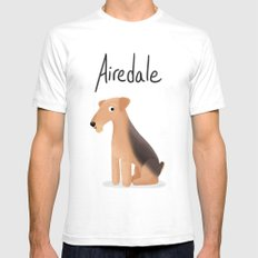 Airedale - Cute Dog Series Mens Fitted Tee White SMALL