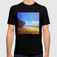 Beautiful Day by the Sea Mens Fitted Tee Black SMALL