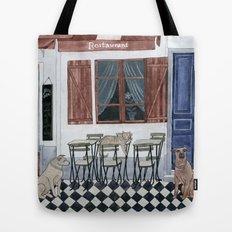 Sidewalk restaurant with blue doors Tote Bag