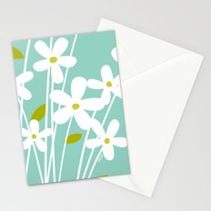 Flowers on Blue by Friztin Stationery Cards