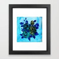 Vintage Blue Flowers  Framed Art Print
