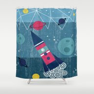 Shower Curtain featuring Spaceship by Kakel