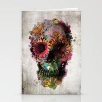 blue Stationery Cards featuring SKULL 2 by Ali GULEC