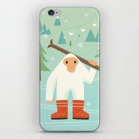 Yeti skieur iPhone & iPod Skin