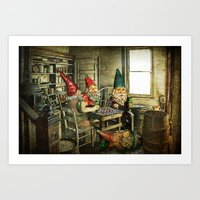 Garden Gnomes Playing Checkers Art Print