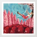 Cherry Blossoms on her swing Art Print