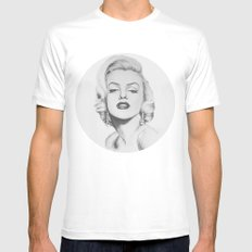 Marilyn Monroe portrait SMALL Mens Fitted Tee White