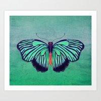 Butterfly in Spring Green Art Print