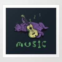Ukulele Cat Art Print