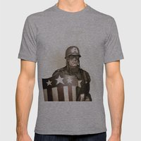 Captain America Mens Fitted Tee Athletic Grey SMALL