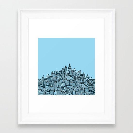 CitySkyline (Blue) Framed Art Print