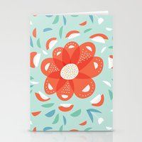 Whimsical Decorative Red Flower Stationery Cards