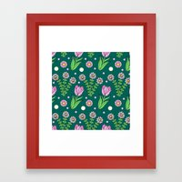 Daisies And Tulips Framed Art Print