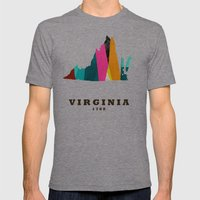 Virginia State Map Moder… Mens Fitted Tee Tri-Grey SMALL