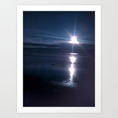 Beach Sunset in the Dark Art Print