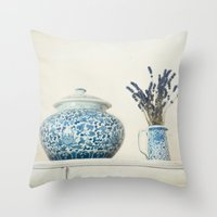 Lavender With Ginger Jar… Throw Pillow