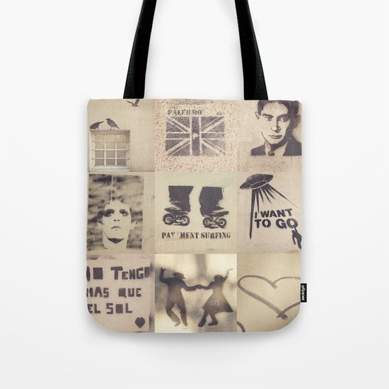 Birds, Palermo, Kafka, Lou Reed, Surfing, I want to go, No tengo mas que el sol, Tango and Love.  Tote Bag