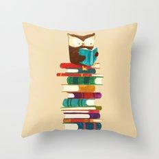 Owl Reading Rainbow Throw Pillow