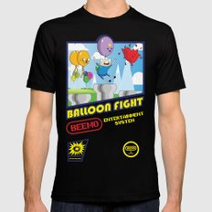 Adventure Time Balloon Fight SMALL Mens Fitted Tee Black